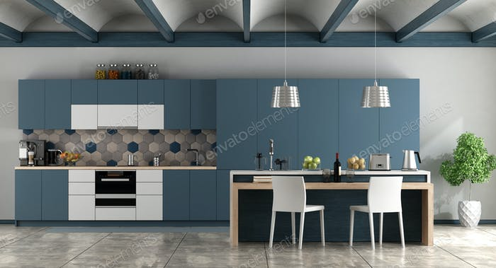 White and blue contemporary kitchen