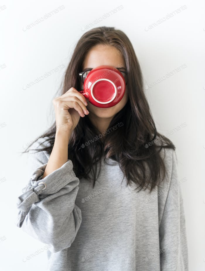 Woman enjoy morning coffee