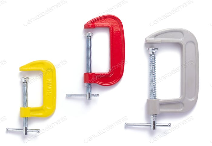 metal clamp or c-clamp on white background