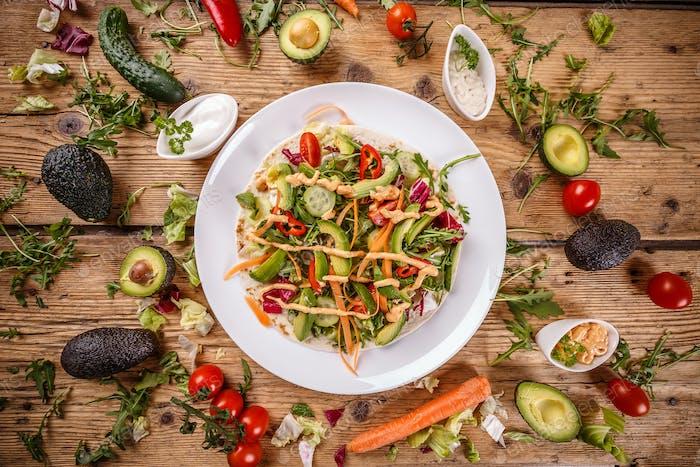 Salad tortilla wrap