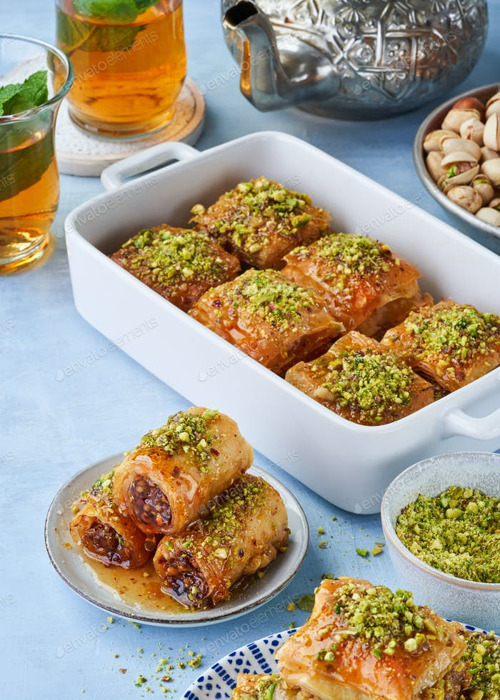 Middle eastern, arab sweet pastry baklava, different delights.