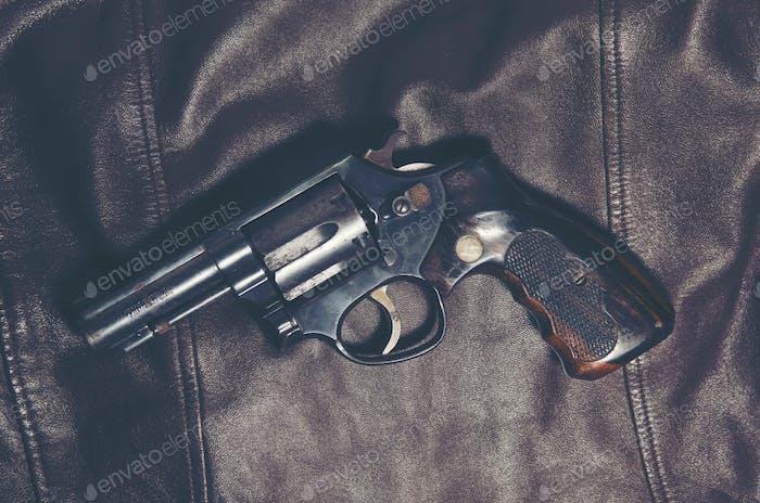 A shotgun Revolvers
