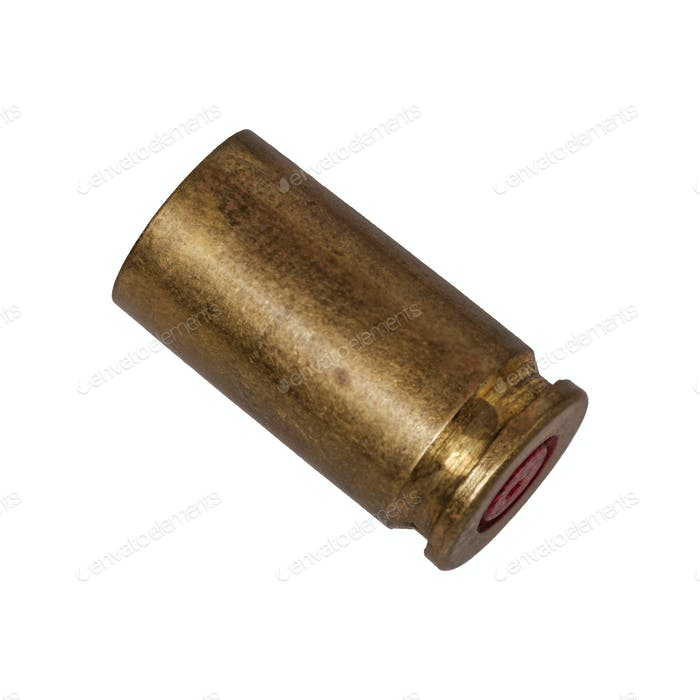Empty bullet cartridge on a white background