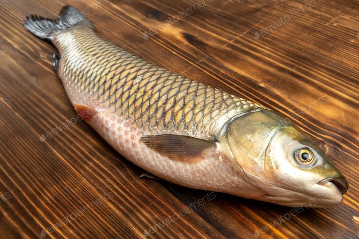 front view fresh fish raw product on wooden table fish sea meat ocean food