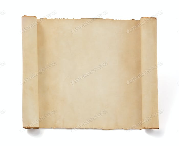 parchment scroll paper isolated at white