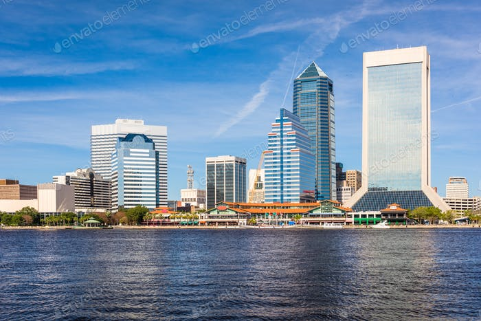 Jacksonville, Florida, USA downtown skyline over St. Johns River
