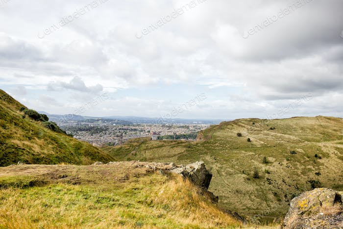 Holyrood park and Edinburgh city, Scotland