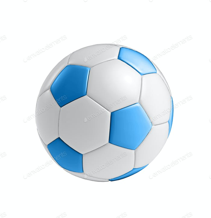 blue football ball isolated on white background