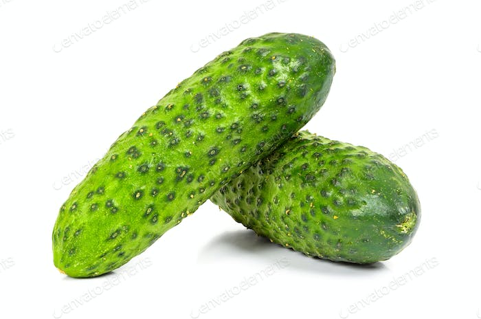 Fresh cucumbers on white background