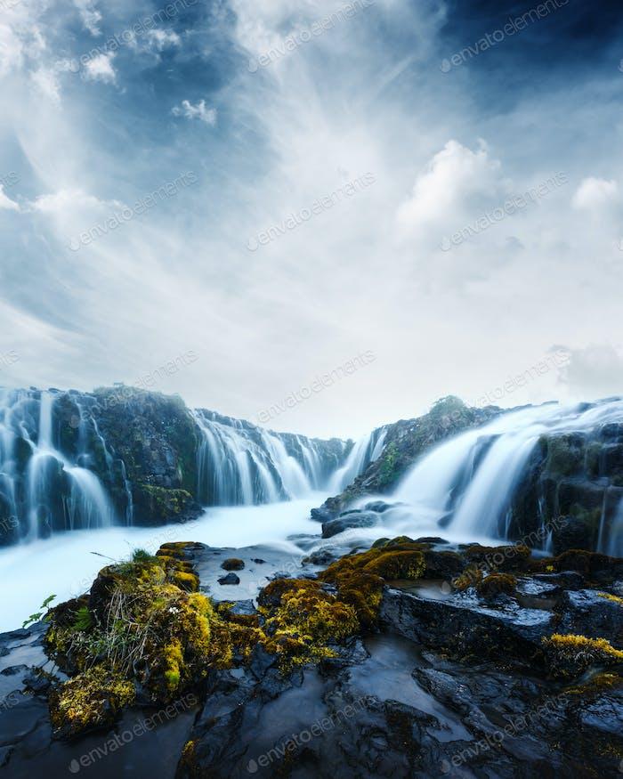 Bruarfoss waterfall in summer time