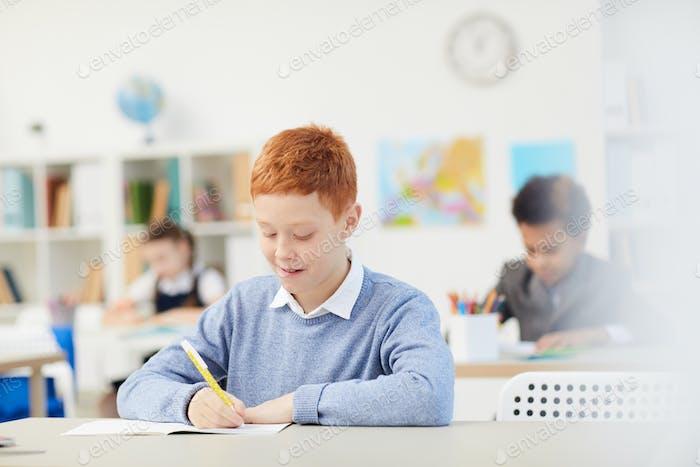 Schuljunge schreiben im Notizbuch