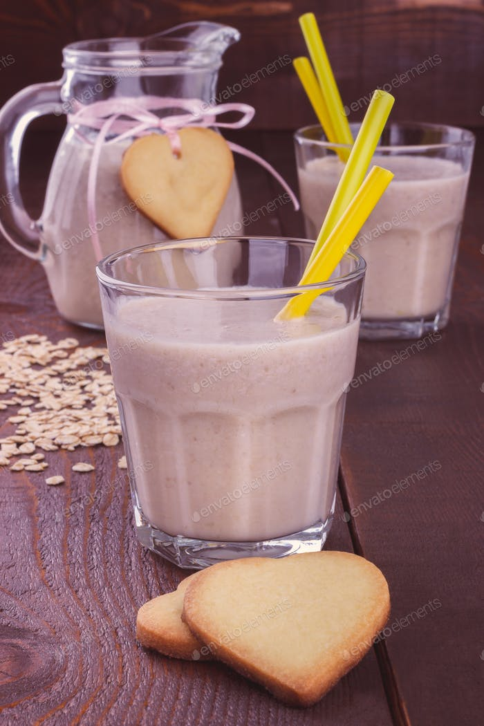 Banana Smoothie and cookies toned image