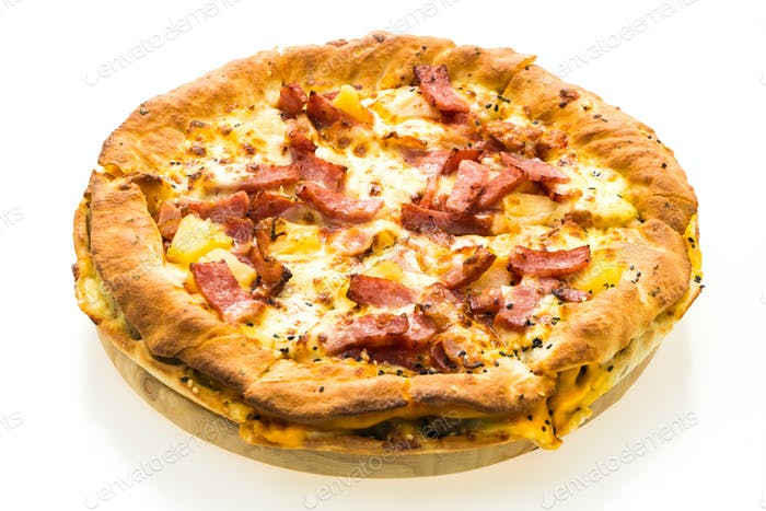 Pizza on wooden tray