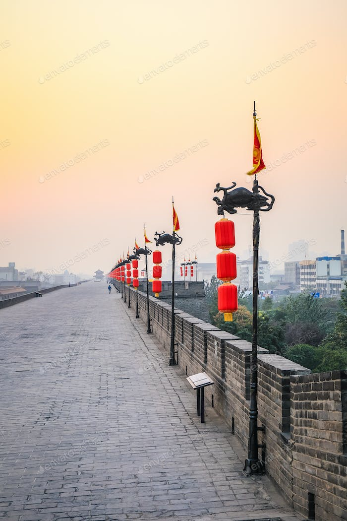 xian city wall in sunset