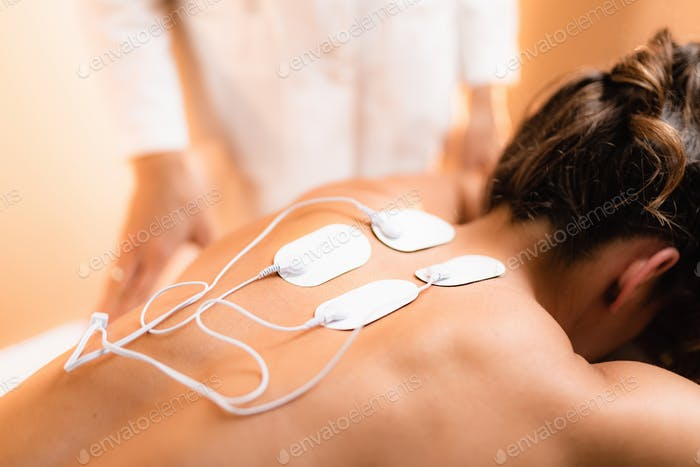 Upper Back Physical Therapy with TENS Electrode Pads, Transcutaneous Electrical Nerve Stimulation