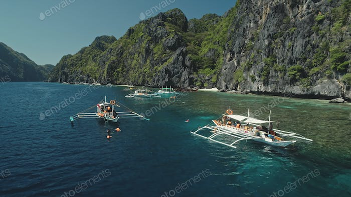 Serene tropical nature scape at mountain island of Palawan, Philippines, Visayas Archipelago
