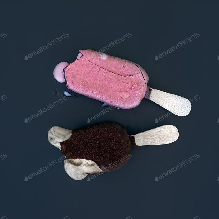 Two pieces of ice-cream