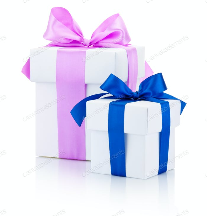 Two white gift boxes tied pink and blue ribbons bow Isolated on