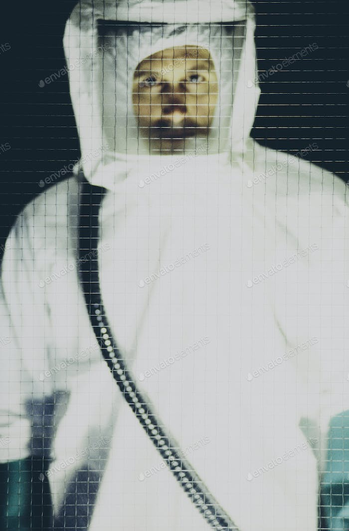 Portrait of man wearing protective clean suit