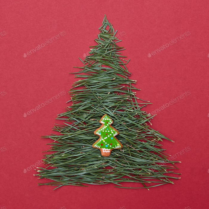 Christmas tree made of pine needles and cookies