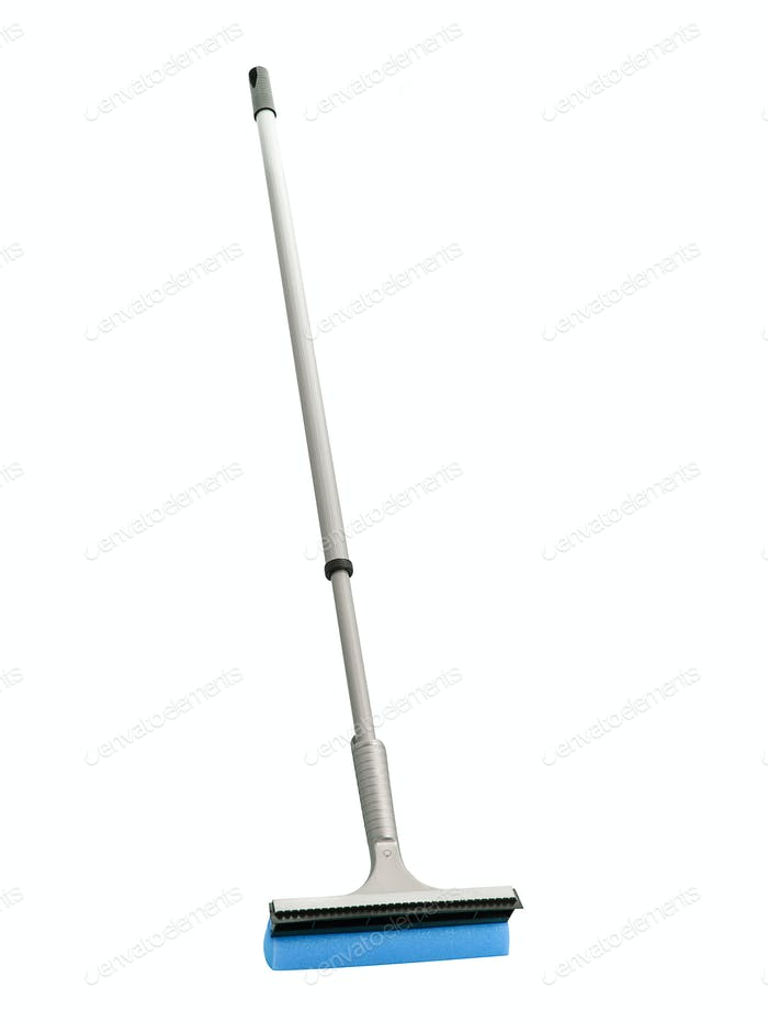 Blue plastic broom isolated on white