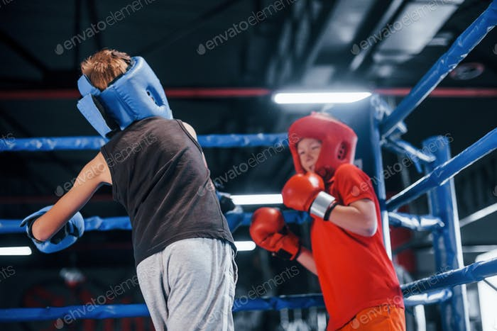 Two boys in protective equipment have sparring and fighting on the boxing ring