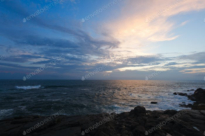 Rocky coast at sunset