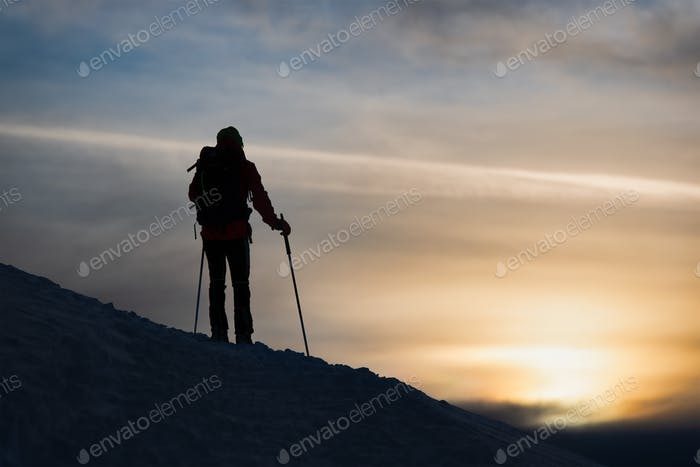 A mountaineer skier