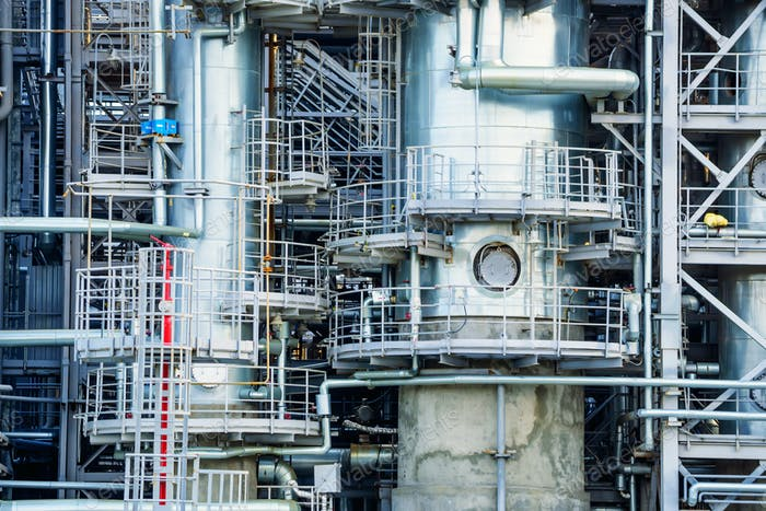 Close up industrial view oil refinery plant