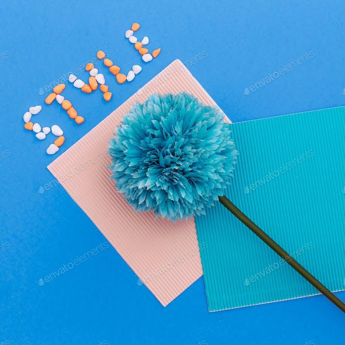 Summer style. Blue flower. Minimal art design