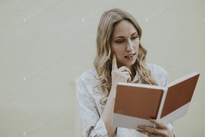 Woman reading notes