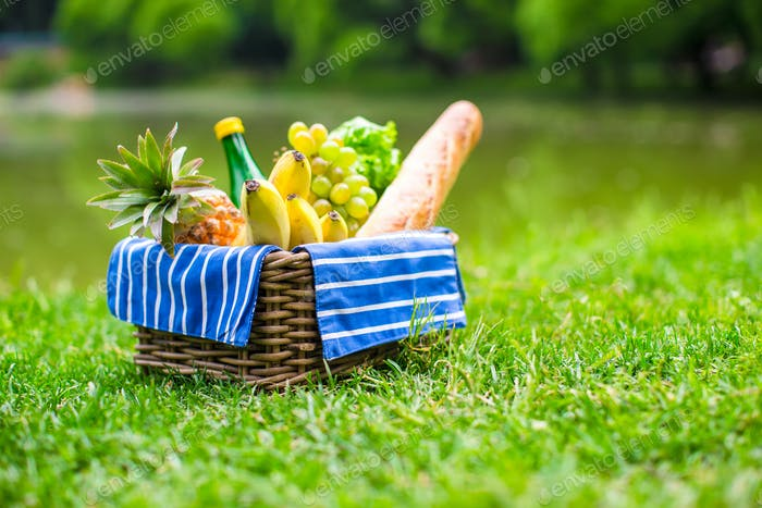 Picnic basket with fruits, bread and bottle of white wine