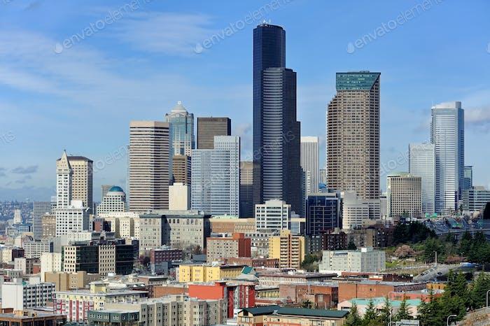 55029,Seattle city skyline against blue sky, Seattle, Washington, United States