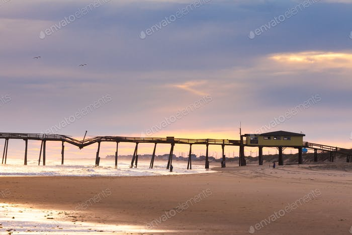Damaged fishing pier on Hatteras Island OBX NC US