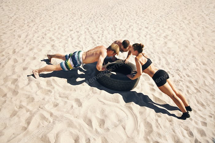 Crossfitters Doing Push-Ups
