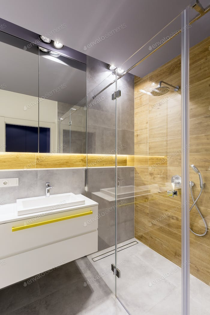 Bathroom with glass shower cabin