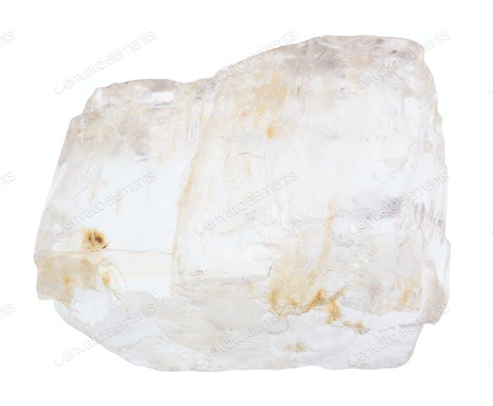Petalite (castorite) gemstone isolated on white