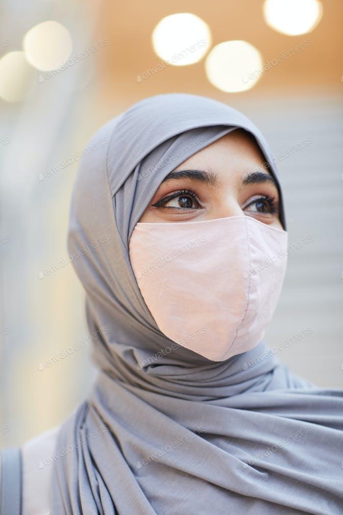 Beautiful Middle-Eastern Woman Wearing Mask