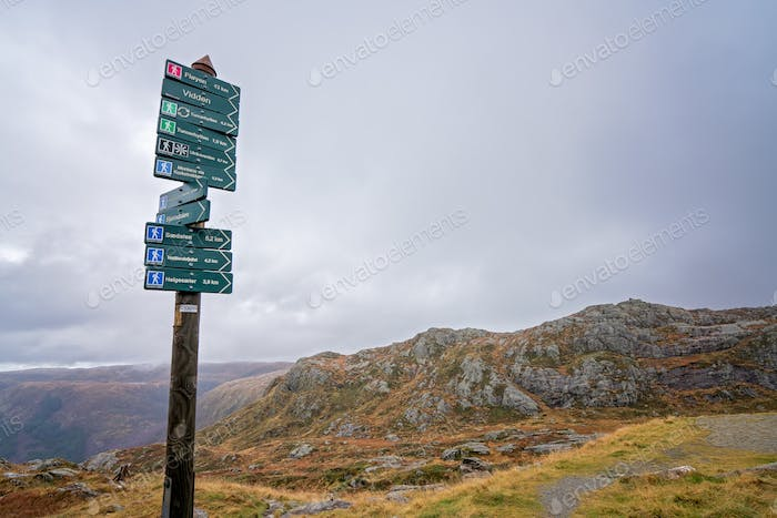 Wooden mountain pole trails and paths directions