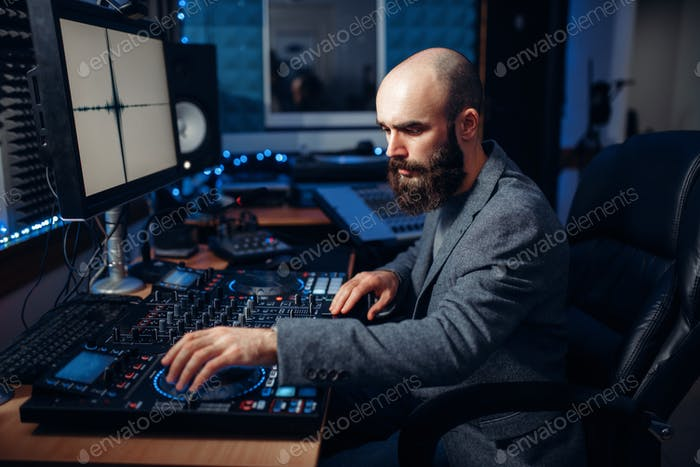 Sound engineer working in the recording studio