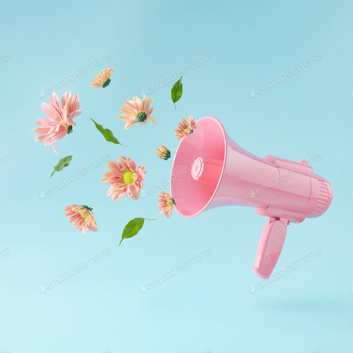 Pink megaphone with colorful summer flowers