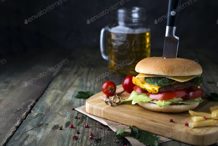 Fresh and juicy hamburger on a paper