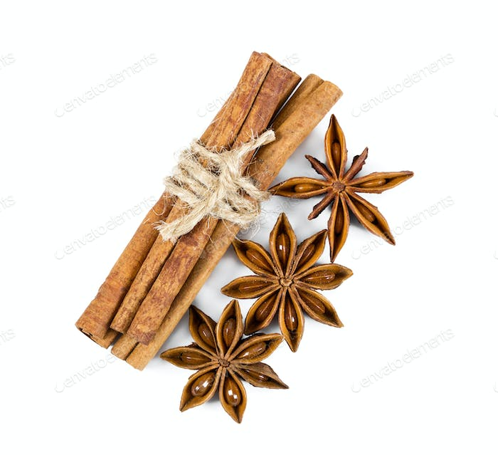 Cinnamon and star anise isolated on white background.