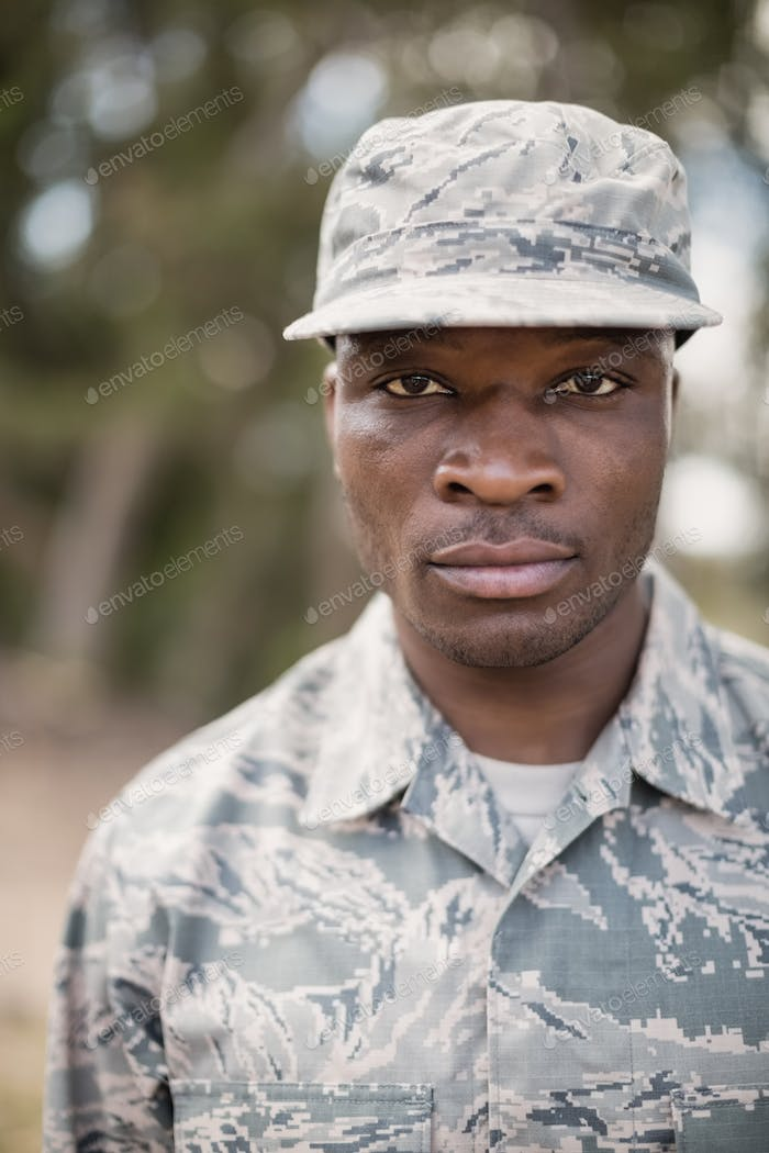 Portrait of confident military soldier