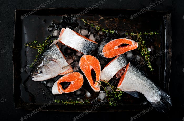 Fresh raw salmon pieces red fish with ice on a dark background. Flat lay. Top view