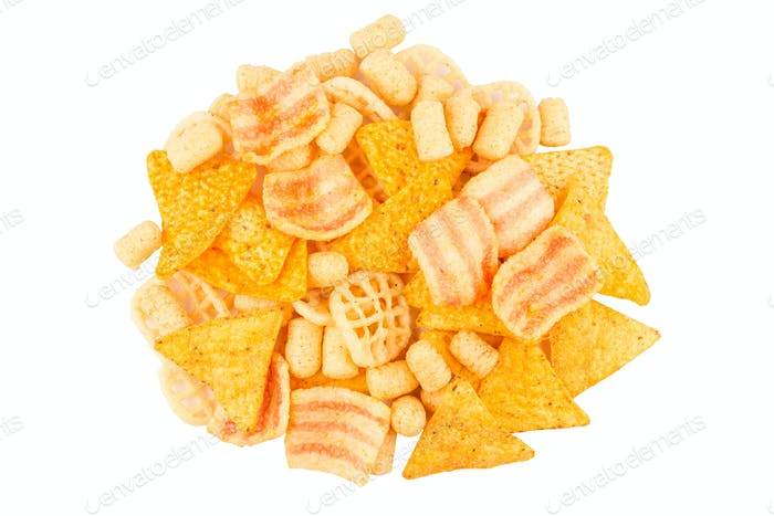 top view pile of different junk food types