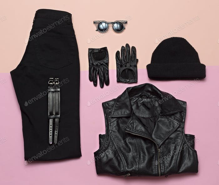 Urban Street Fashion. Black Hipster Outfit Trendy Clothes Spring