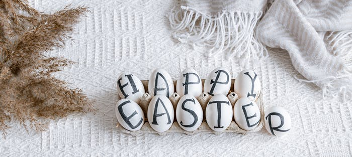 Easter eggs with the inscription happy Easter, holiday decor .