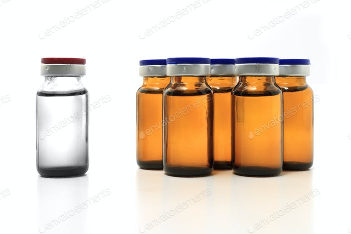 glass bottles with drug