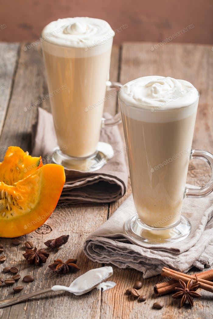 Pumpkin latte with whipped cream